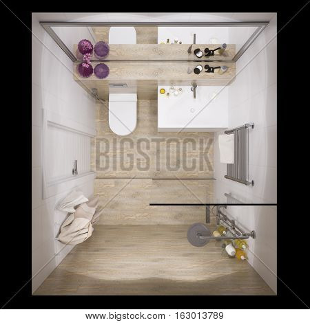 3d illustration of interior design bathroom with a tile woodgrain. Visualization is shown in plan view