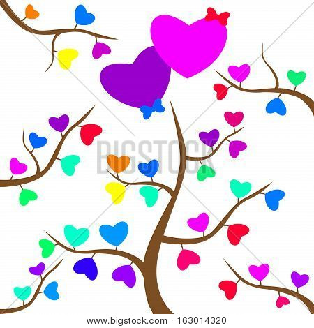 Heart shapes on tree branch abstract light glitter background in love concept for valentines day with sweet and romantic moment. Decoration romantic celebration holiday love vector background.