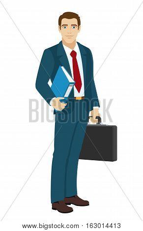 Businessman holding a folder. Businessman holding briefcase. Vector illustration.