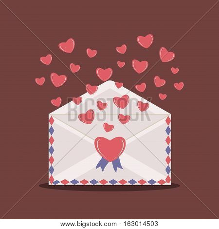 Happy Valentine Day Envelope with Paper Hearts. Vector Illustration love Mail Envelope Letter paper romantic hearts inside. Can be used for Mothers and Womens Day Greetings. Love mail letter.