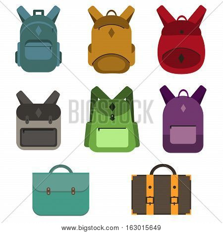 Travel bags vector. Business suitcase packing handle voyage isolated on white background. Departure summer traveler trip baggage travel bags collection. Adventure backpack handbag or luggage.