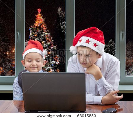Against the background of the Christmas tree outside the window two brothers are looking at a laptop