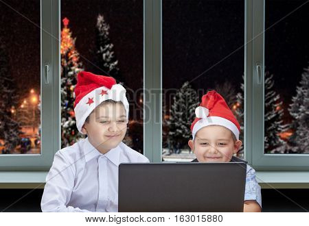 Two brothers are sitting near the laptop on the background of Christmas trees outside the window
