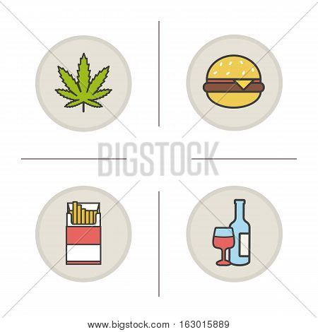 Addictions and bad habits color icons set. Marijuana leaf, hamburger, open cigarette pack, wine bottle and glass. Drugs, smoking, alcohol and fast food addictions. Isolated vector illustrations