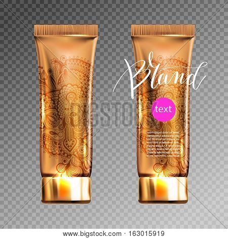toner contained in plastic tube with gold lid and place for your brand name text for ads or magazine banner of cosmetics, 3D vector illustration eps 10