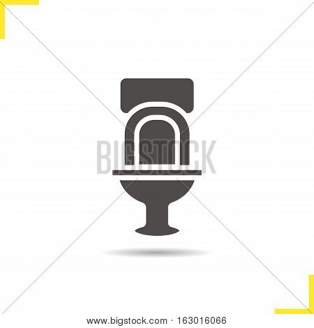 Toilet icon. Drop shadow wc silhouette symbol. Lavatory pan. Negative space. Vector isolated illustration