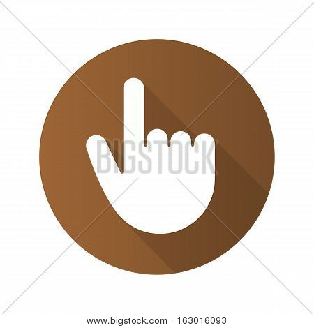 Point up gesture flat design long shadow icon. Index finger. Forefinger. Vector silhouette symbol