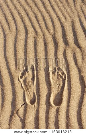 Footprints in the sand. Imprint of man's foot on the sand on the beach. top view. Overhead view