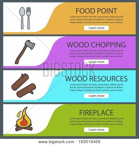Picnic banner templates set. Easy to edit. Firewood, axe, spoon and fork, bonfire. Website menu items. Color web banner. Vector headers design concepts