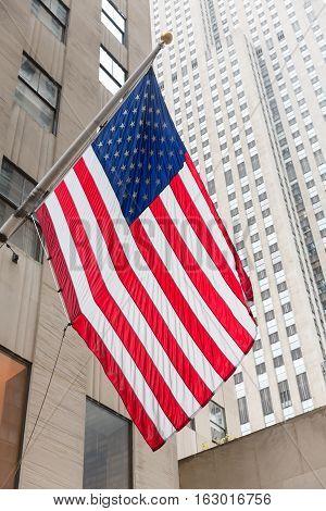 American Flag On The Rockefeller Center