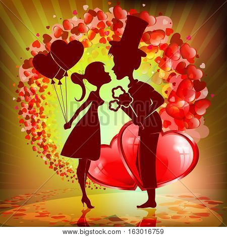 Romantic background with set hearts, silhouettes of couples, boy with flowers in hat and girl with balloons