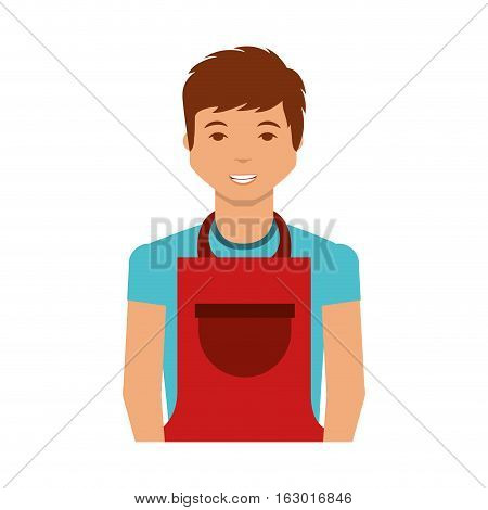 man with apron character vector illustration design