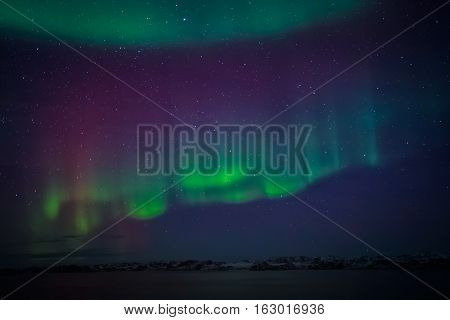 Northern Lights Over The Fjord, Nearby Nuuk City, Greenland