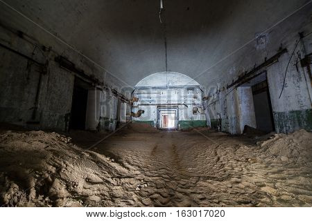 Abandoned and rusty old soviet bunker warehouse of nuclear warheads and other parts of nuclear missiles