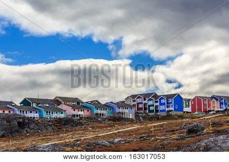 Colorful Cottages In The Suburb Of Nuuk City, Greenland