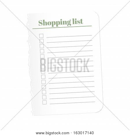Shopping list. Torn a blank sheet of paper to record the completed tasks. Vector illustration isolated on white background.