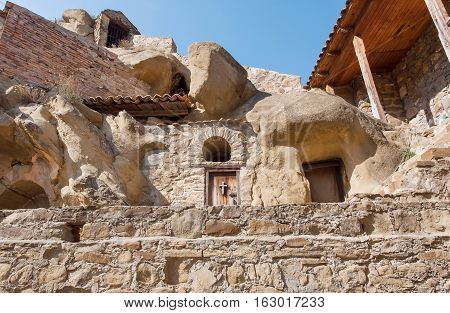 Stone houses inside monastic complex of David Gareji. Architecture and archaeological site built in 6th century in Georgia. UNESCO World Heritage Site