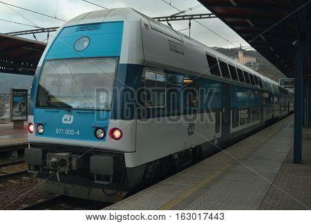Usti nad Labem Ustecky kraj Czech republic - November 20 2016: passenger train Os 6915 of company Ceske drahy standing at train station