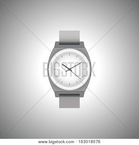 Wrist Watch unisex gray color on gray field. Stylish accessory.