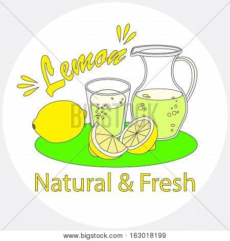 Lemonade with glass and carafe on white background.