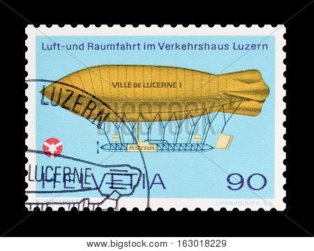 SWITZERLAND - CIRCA 1975 : Cancelled postage stamp printed by Switzerland, that shows Airship Ville de Lucerne.