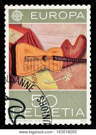 SWITZERLAND - CIRCA 1975 : Cancelled postage stamp printed by Switzerland, that shows Painting by Rene Auberjonois.