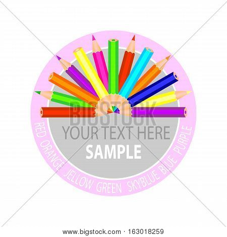Logo with colorful pencils on white field.