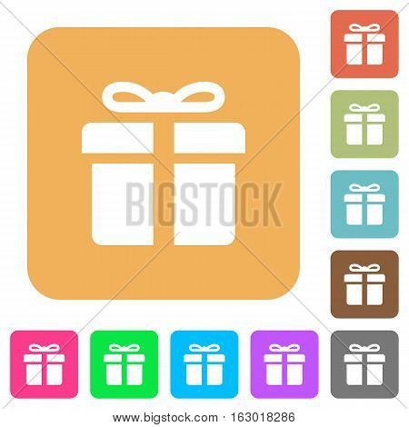 Gift box icons on rounded square vivid color backgrounds.