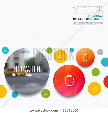 Business vector design elements for graphic layout. Modern abstract background template with points circles dots for IT, technology in clean minimal style with overlay effect.