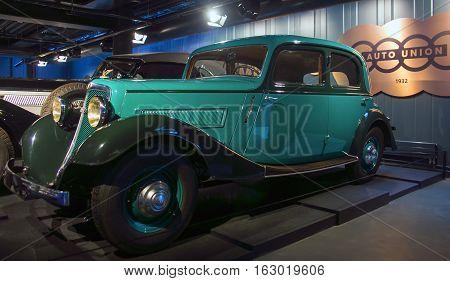 RIGA LATVIA - OCTOBER 16: Retro car 1935 Wan Derer W240 Riga Motor Museum October 16 2016 in Riga Latvia