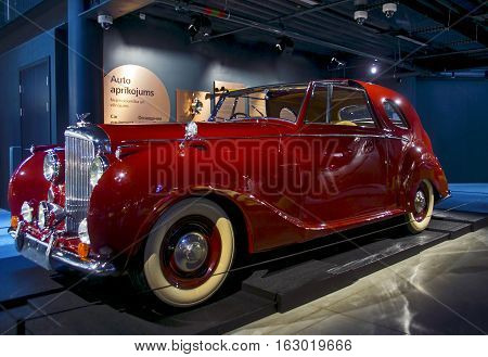 RIGA LATVIA - OCTOBER 16: Retro car of the year 1949 BENTLEY Mr.V1 Riga Motor Museum October 16 2016 in Riga Latvia