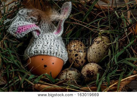 Rustic Still Life With Decorated Like Bunny Chicken Eggs