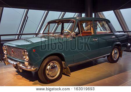 RIGA LATVIA - OCTOBER 16: Retro car of the year 1974 VAZ 2101 ZIGULI Riga Motor Museum October 16 2016 in Riga Latvia