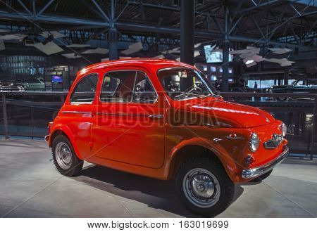 RIGA LATVIA - OCTOBER 16: Retro car of the year 1962 STEYR PUCH 500D Riga Motor Museum October 16 2016 in Riga Latvia