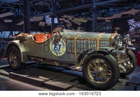 RIGA LATVIA - OCTOBER 16: Retro car of the year 1924 AMILCAR CGS Riga Motor Museum October 16 2016 in Riga Latvia