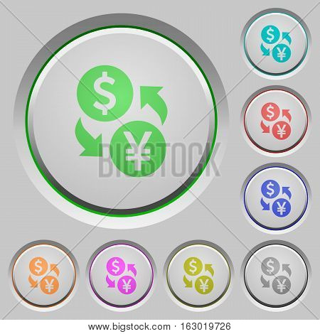 Dollar Yen exchange color icons on sunk push buttons