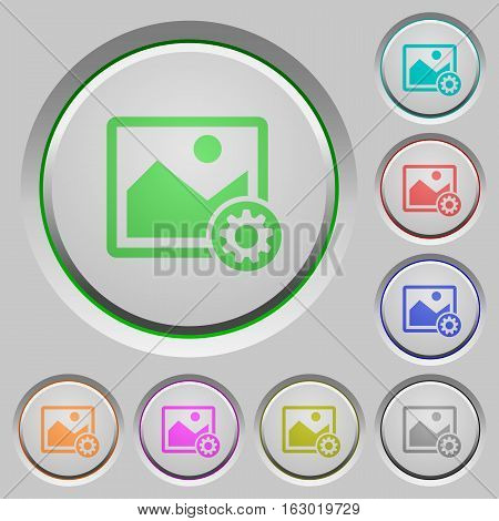 Image settings color icons on sunk push buttons