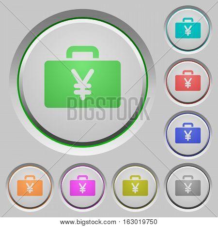 Yen bag color icons on sunk push buttons