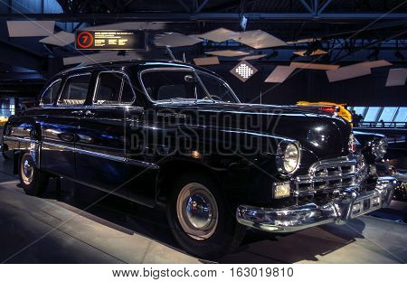 RIGA LATVIA - OCTOBER 16: Retro car of the year 1956 GAZ ZIM 12 Riga Motor Museum October 16 2016 in Riga Latvia