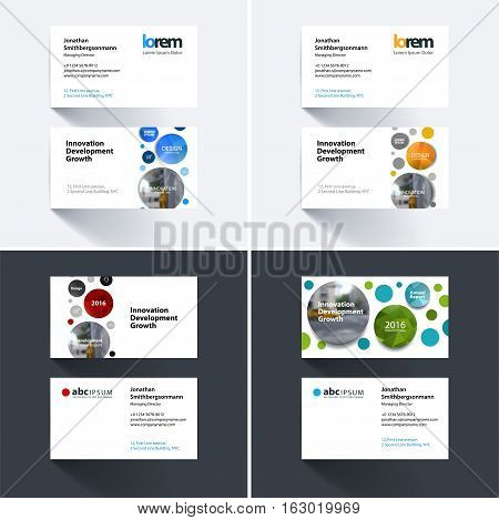 Vector business card template with points circles dots for IT, business, technology. Simple and clean design. Creative corporate identity layout set with overlay effect.