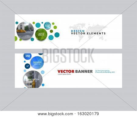 Vector set of modern horizontal website banners with points circles dots for IT, business, technology, network, communication.  Clean web headers design with overlay effect.