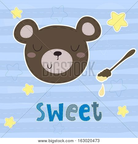 vector card with cute bear. vector print.