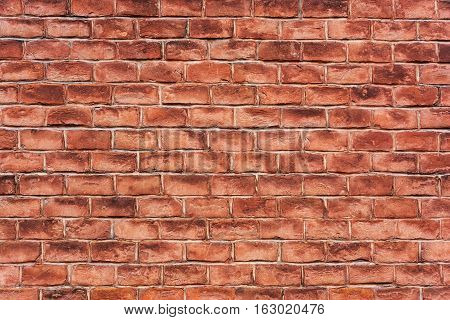 Red brick wall. Texture background. Ancient brickwork.