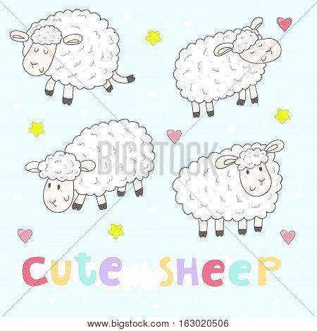 Cute hand drawn sheeps set in cartoon style. vector print.