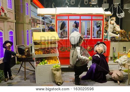 LVIV UKRAINE - DECEMBER 22: Doll in a storefront Roshen in the center of Lviv on December 22 2016 in Lvov Ukraine