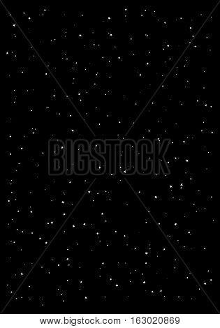 Huge clusters of stars in the dark sky. Black background. Vector illustration