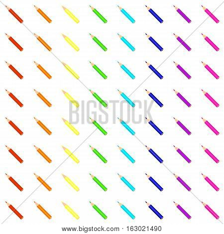 Seamless pattern with rainbow pencils on white field.