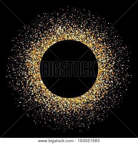 Confetti gold flare. Glitter background. Vector illustration on black background