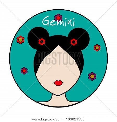 Gemini zodiac sign. Icon with fashionable woman face with trendy hairstyle and flower background. userpic design element