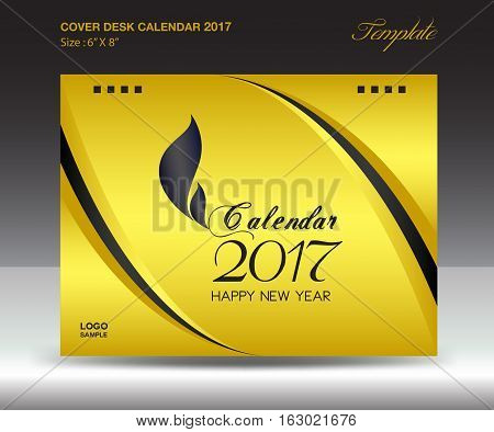 Desk calendar 2017 year Size 6x8 inch horizontal, Gold Cover design, Business brochure flyer template, advertisement, book